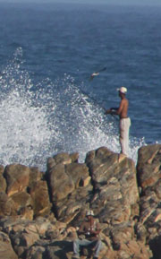 Sea fishing from the rocks in Plettenberg Bay South Africa